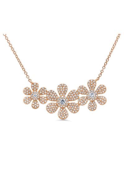 Pave Triple Flower Necklace