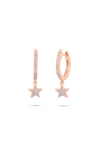 Single Pave Diamond Stardrop Huggie Hoop