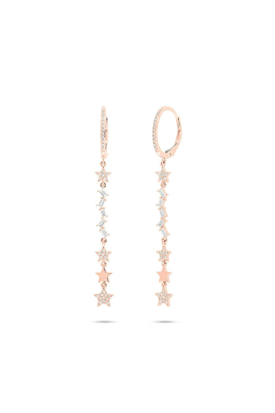 Star and Baguette Long Earrings