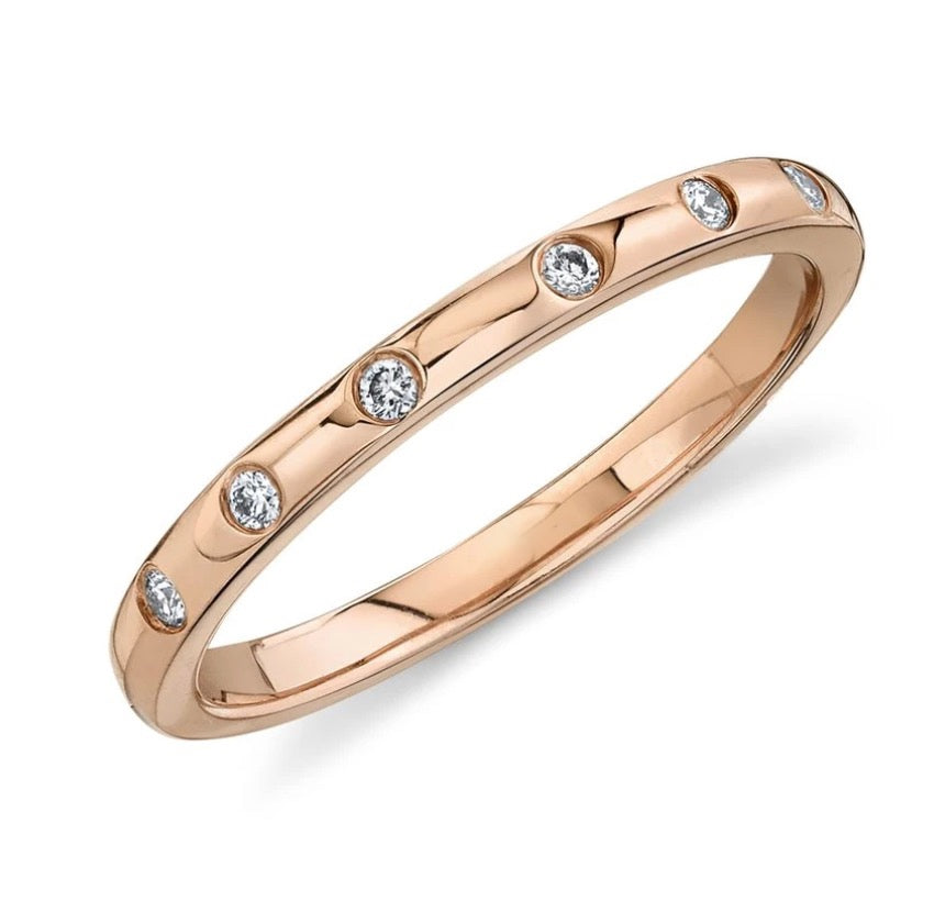 Thin Gold Band with Round Diamonds