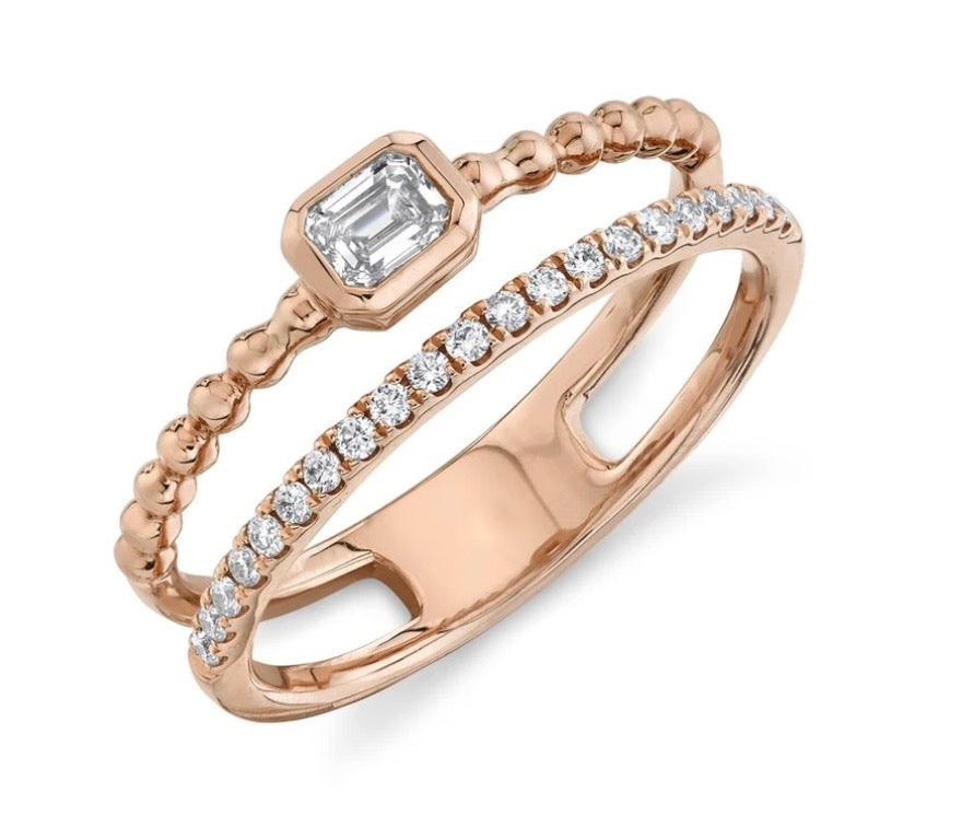 Baguette and Bubble Double Stack Ring