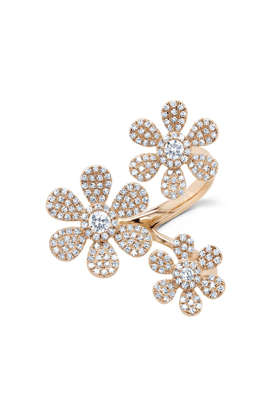 Large Triple Flower Ring