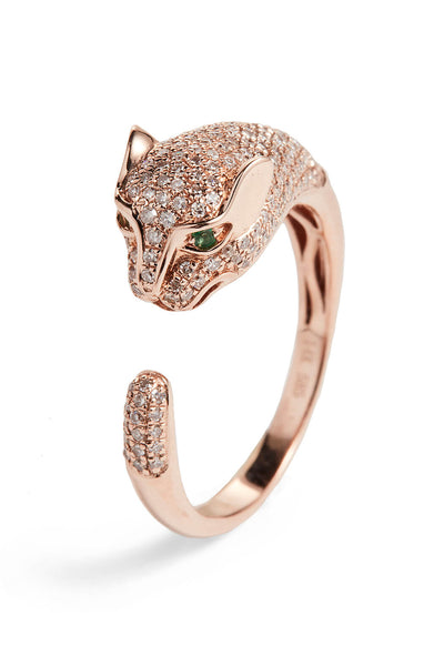 Half Pave Diamond Panther Ring