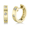 Small Solid Gold Hoops with Diamonds