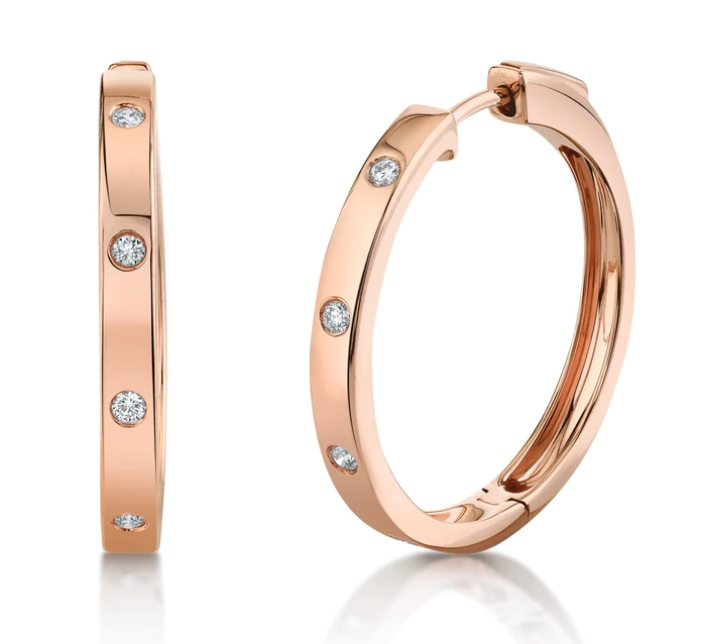 Large Solid Gold Hoops with Diamonds