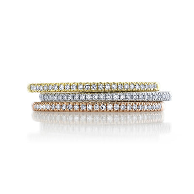 Set of 3 Stackable Pave Diamond Rings