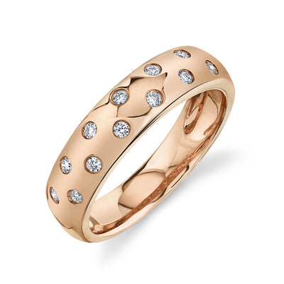 Thick Solid Gold Band with Round Diamonds