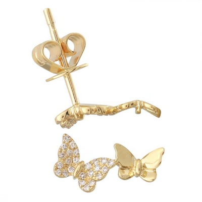 Pave Butterfly Lariat & Double Butterfly Studs - Bundle