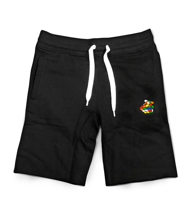 Men's Black Embroidered French Terry Fleece Shorts