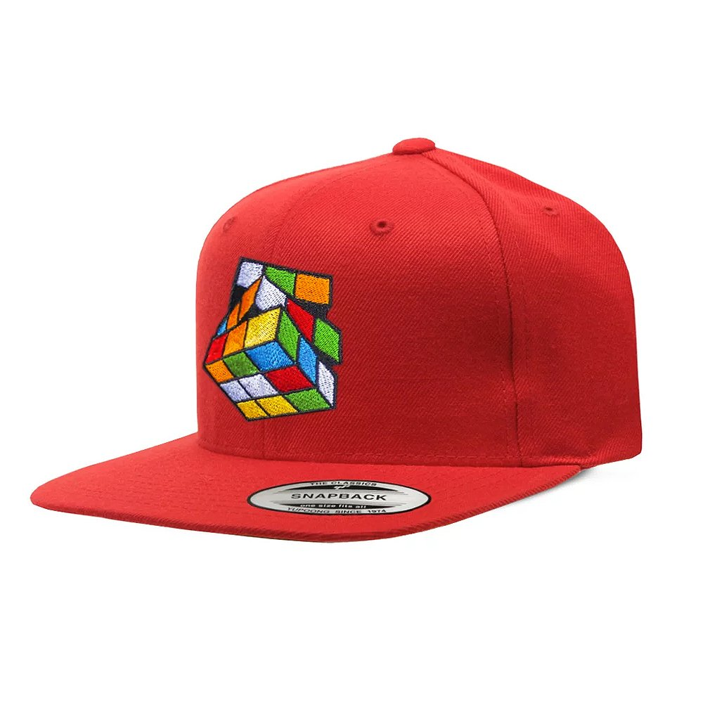 Red Retro Rubik's Cube Snapback Hat