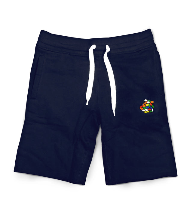 Men's Navy Embroidered French Terry Fleece Shorts
