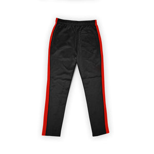 (Black/Red) Single Strip Track Pants