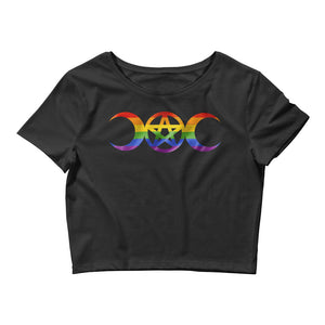 Rainbow Pride Triple Goddess Pentagram Crop Tee