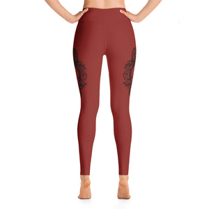 Satanic Snakes and Flowers Red Yoga Leggings