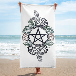 White Witch Pentagram and Roses Towel