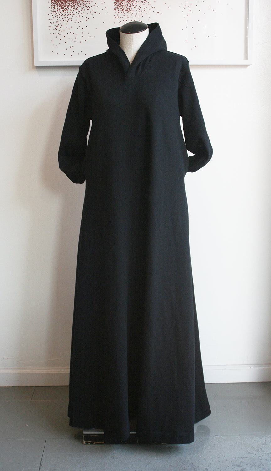 Hoody Dress, black organic cotton fleece