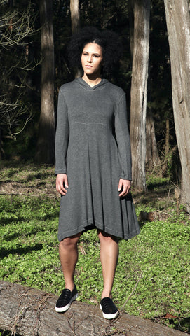Hooded Fit & Flare Dress, charcoal modal