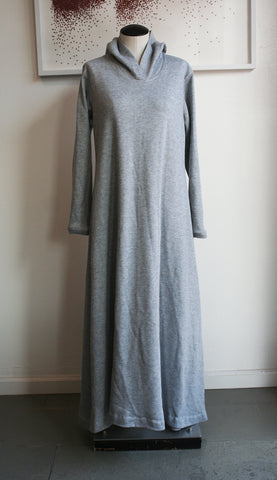 Hoody Dress, heather grey cotton fleece