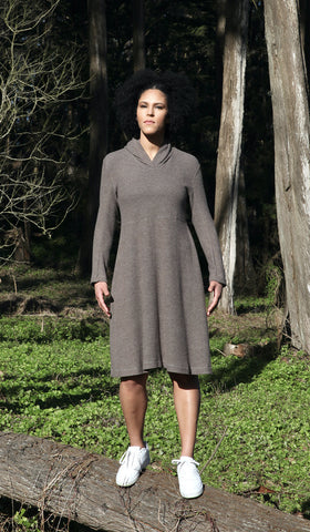 Hooded Fit & Flare Dress, taupe modal
