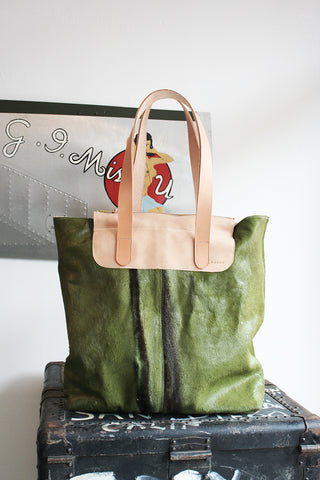 Metro Bag in kiwi horse hair