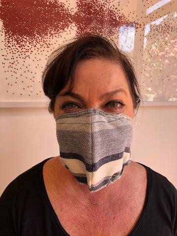 Blue Stripe Knit Face Mask