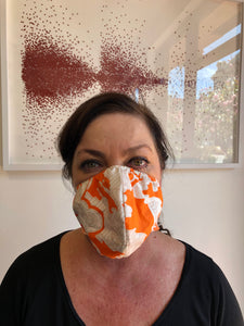 Orange White Retro Print Face Mask, Cotton Nylon