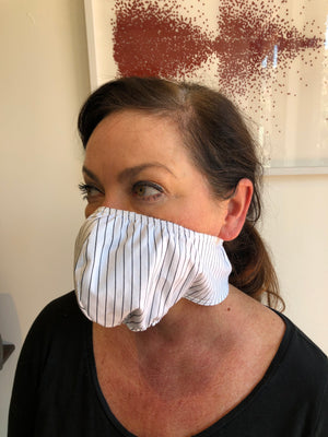 White Cotton Black Stripe Face Mask