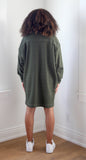 F20 Mini Sweatshirt Dress, olive green cotton fleece