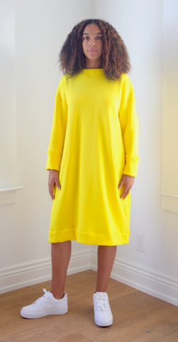 F20 Sweatshirt Dress, yellow cotton fleece