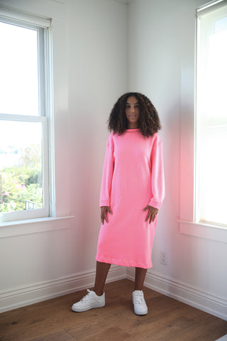 F20 Sweatshirt Dress, pink fleece