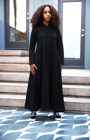 F20 Hoody Sweatshirt Maxi Dress, black cotton fleece