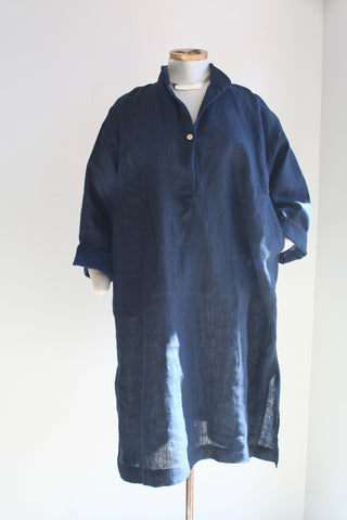 Banded Collar Overshirt, midnight blue linen
