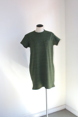 Pocket Tee Dress, army green fleece