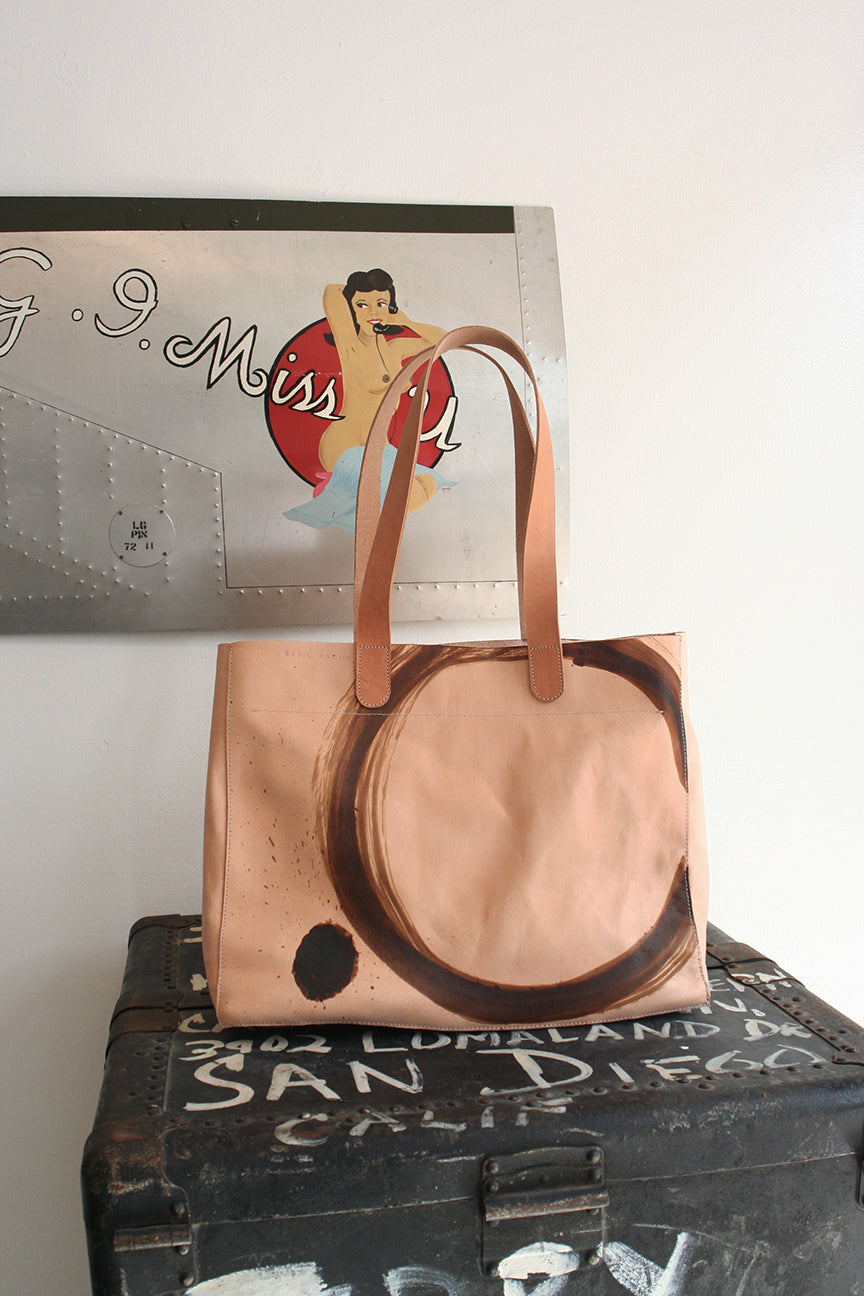 Zip Top Tote Enso Circle natural veg tan