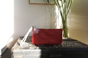 Nomadic Pouch red hair with silver