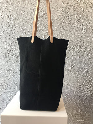 Paper Bag black suede with gold splash
