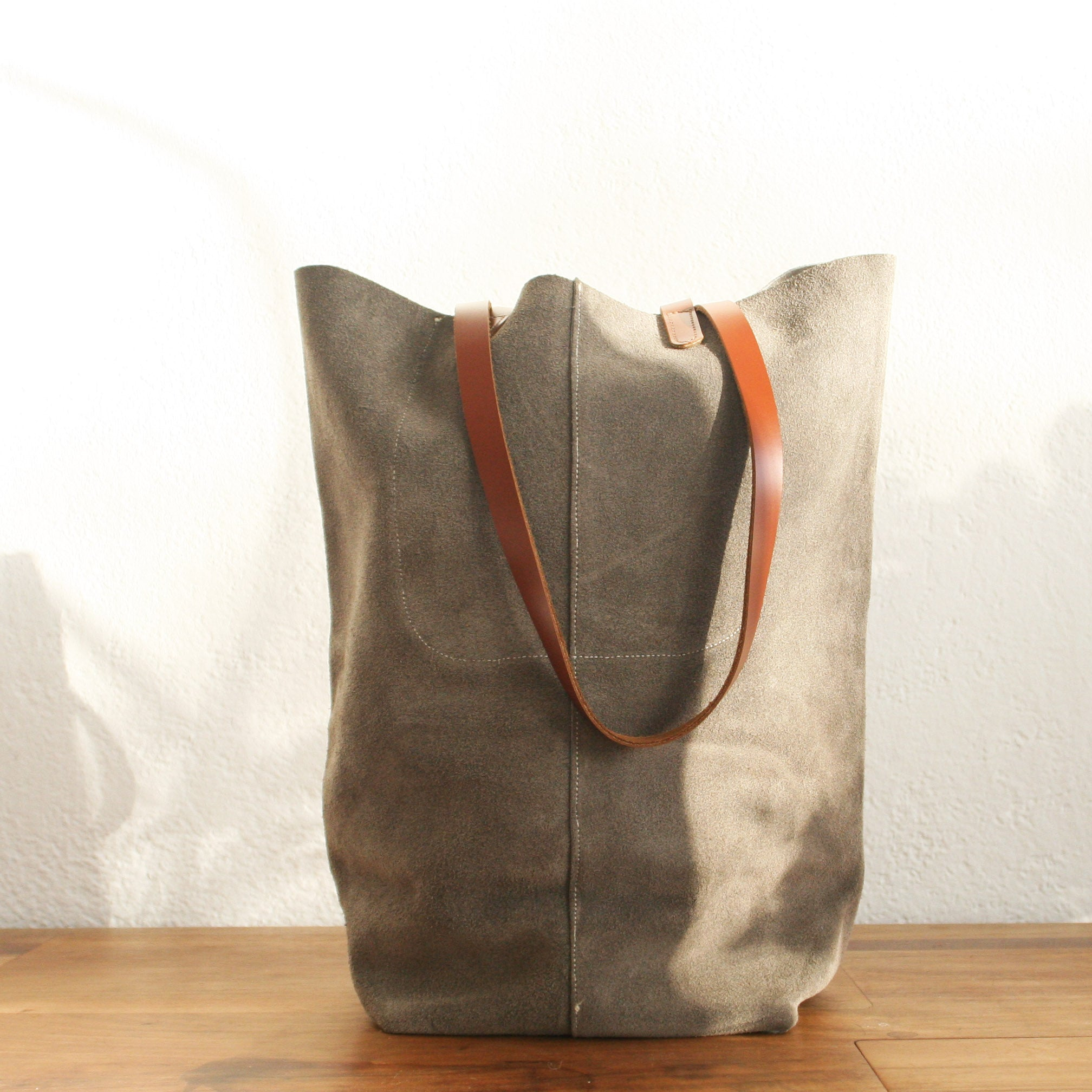 Paper Bag charcoal suede