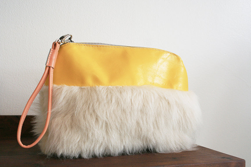 Shearling Pouch, Canary and ivory shearling
