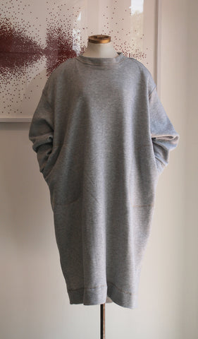 F20 Sweatshirt Dress, grey heather cotton fleece