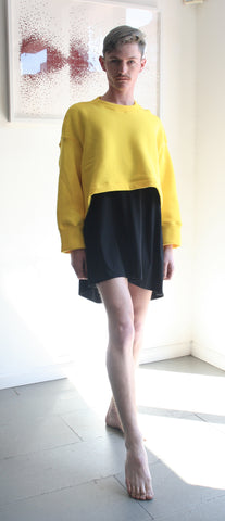 Cropped Sweatshirt, yellow fleece