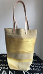 Paper Bag sand suede with gold stripe