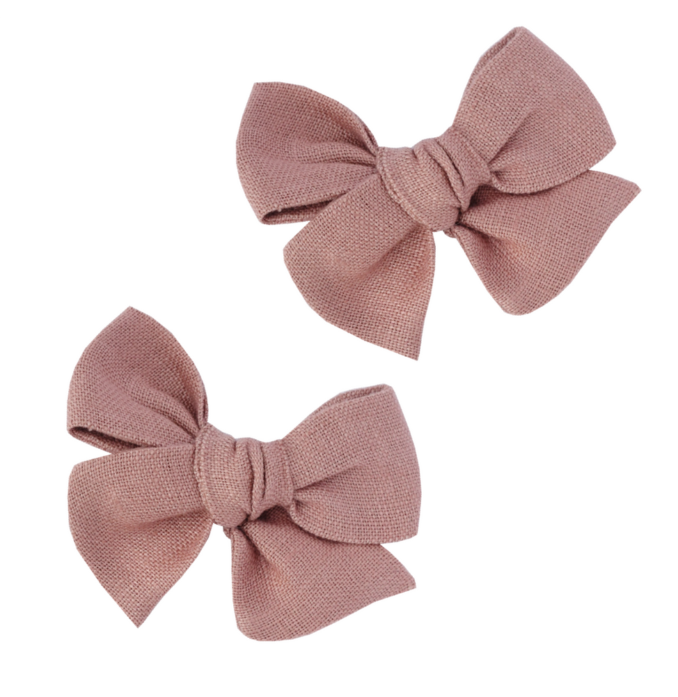 Load image into Gallery viewer, Dusty Rose Linen // Pinwheel Pigtail Set