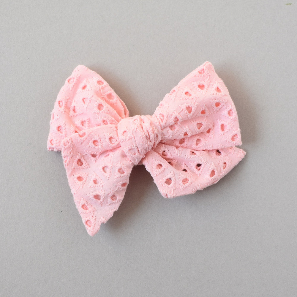 Pink Eyelet // Alice Bow Large