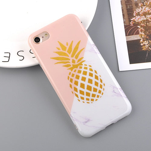3D Pineapple Marble Phone Cases For iPhone X XS XR XS Max 6 6plus 7 Plus 5 5S SE Leaves Print Back Cover Coque for iPhone 8 Plus