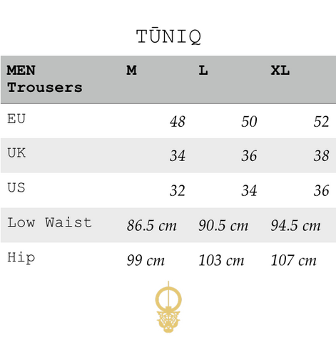 TŪNIQ Mens trousers pants european sizes to american british measurements