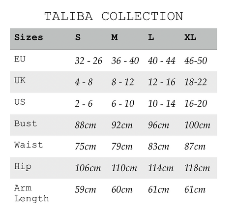 TALIBA collection alternative sizing chart