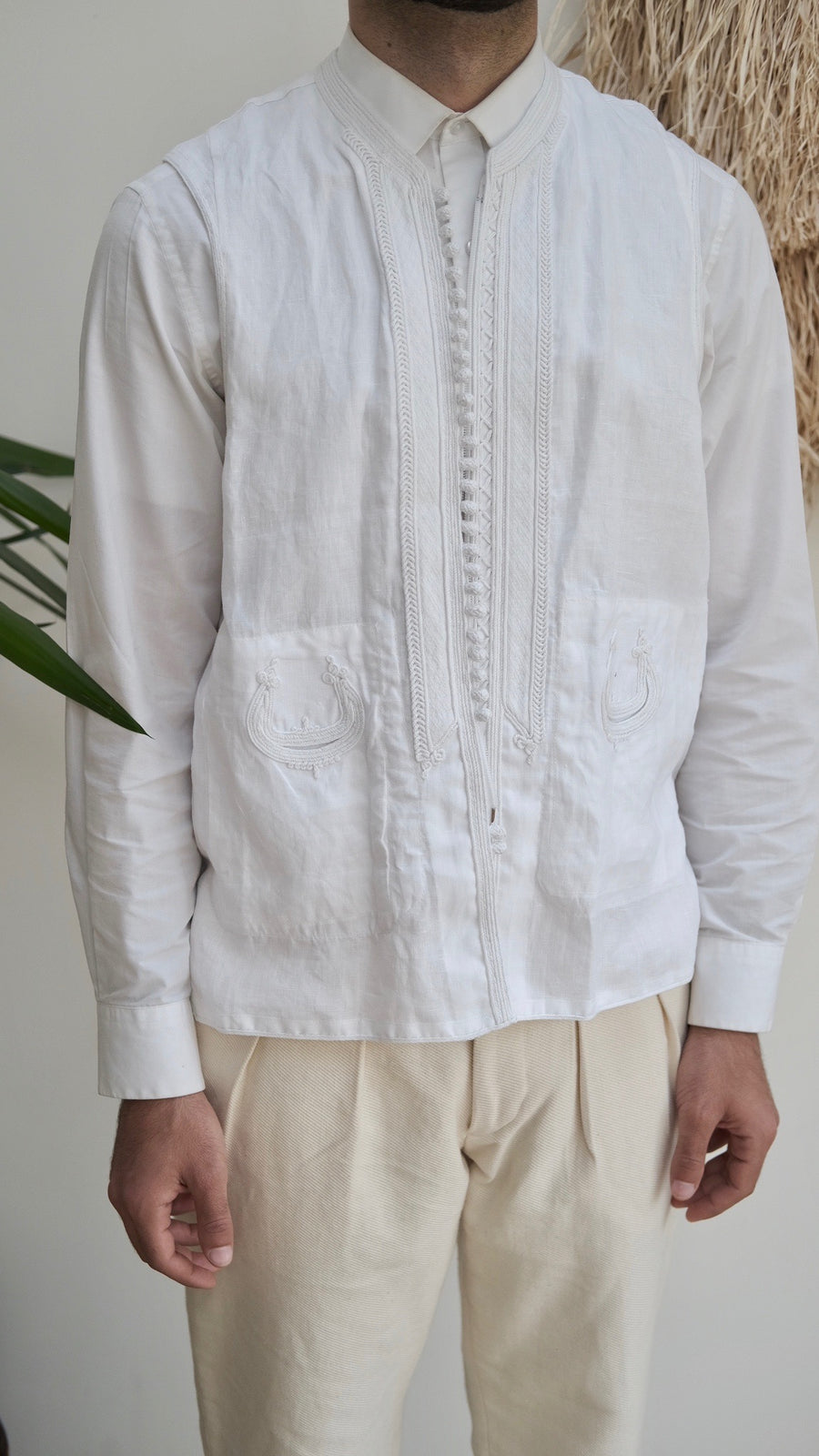 The Linen Jebba and Vest Set - Classic White