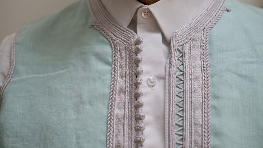 The Linen Jebba and Vest Set - Light Mint