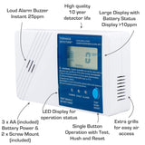 Low Level CO Detector | 25ppm Alarm | 10 Year Life