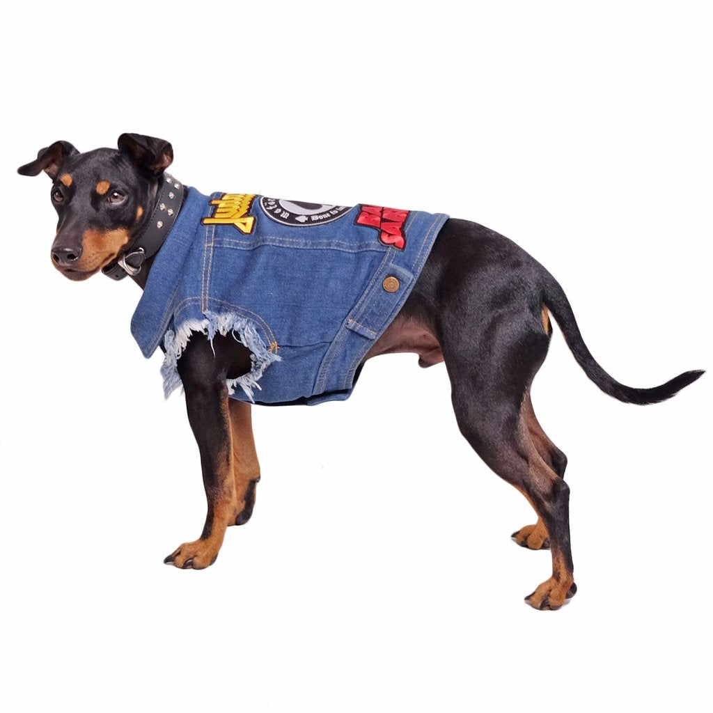 Patched Denim Dog Vest